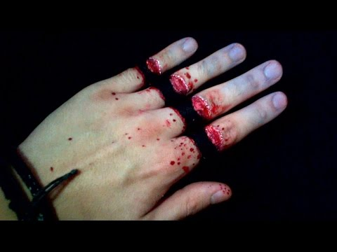 ギャーって指を切断した様に見えるリアルなトリックアート