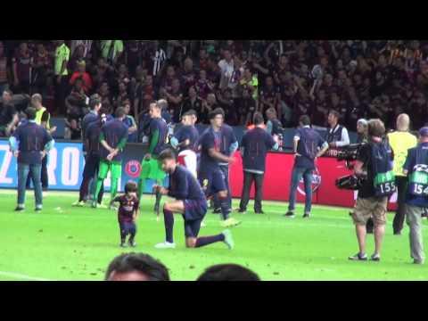 Milan Pique with Gerard, Xavi and Crazy Daniel Alves(Сhampions league Final)