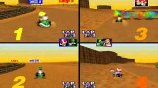 Mario Kart 64 Netplay: Kalimari Desert 4 player game