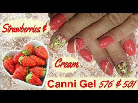 Canni Gel Nail Design - Strawberries and Cream