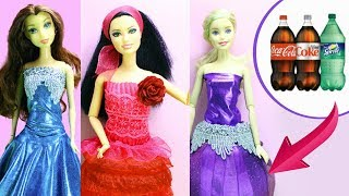 How to Make DIY Barbie Dresses / Clothes with Pepsi / Coca Cola Bottles