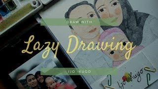 Let's Draw Watercolor Portrait Illustration    Lazy Drawing    ijokugo