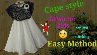 Cape style Umbrella Gown for kids // by simple cutting