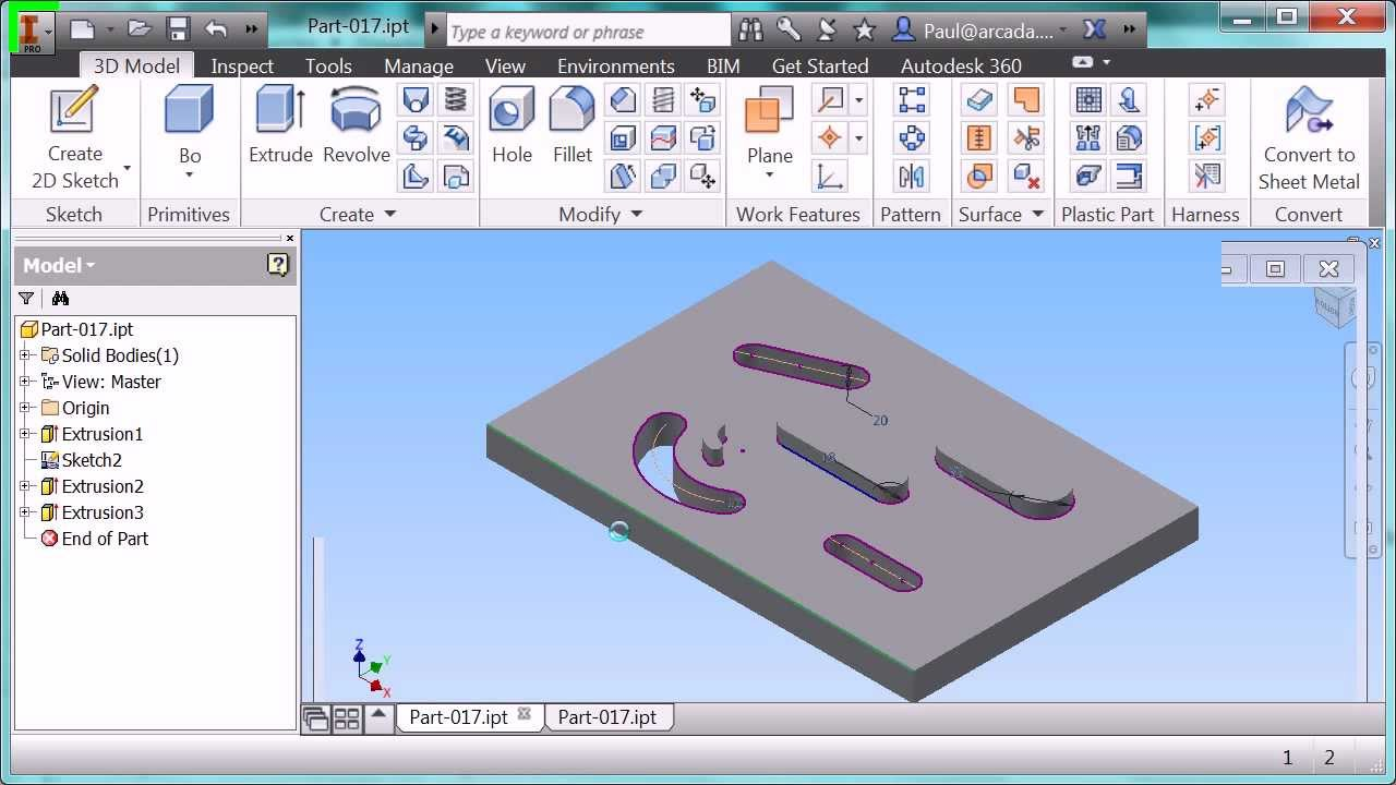 Autodesk Inventor 2014 Sketch Slot New Features Youtube
