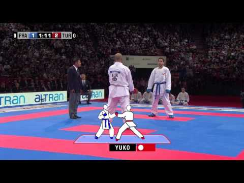 (3/4) Final Male Team Kumite. France vs Turkey. 21st WKF World Karate Championships 2012