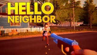 Shooting the Neighbor and Entering the Basement Ending! - Hello Neighbor Alpha 2 Gameplay