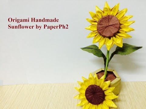 折り紙 ひまわりの折り方 How to fold a Sunflower  YouTube