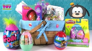 Easter Basket Surprise Eggs Tattoos Warheads Candy Barbie Shopkins & More Opening | PSToyReviews