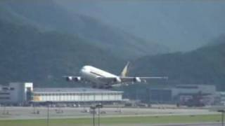 Singapore Airlines A380 Take off Hong Kong