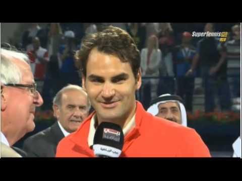 Roger Federer funny award ceremony ATP 500 dubai 2014