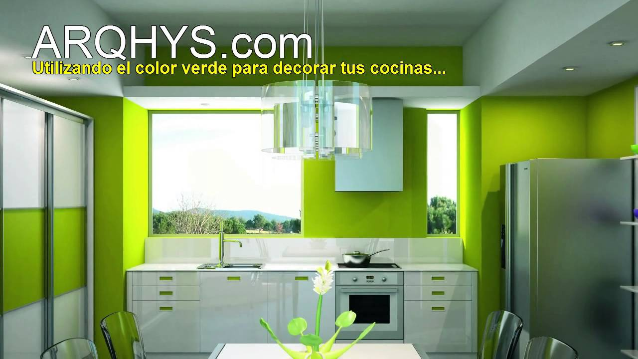 Decorando tu cocina de color verde youtube for Pintura para el color de la cocina