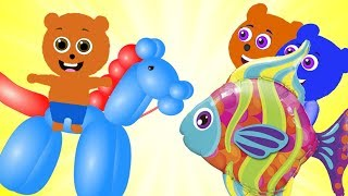 Gummy Bear Baby playing with BALLOON Animals ❤ Children's cartoons Nursery Rhymes
