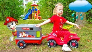 Funny Stacy Saving Paw Patrol toys on the Outdoor Playground for kids