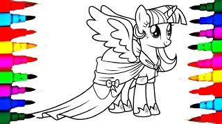 My Little Pony Princess Twilight Sparkle Coloring Pages l How to Color and Learn Colors for Kids