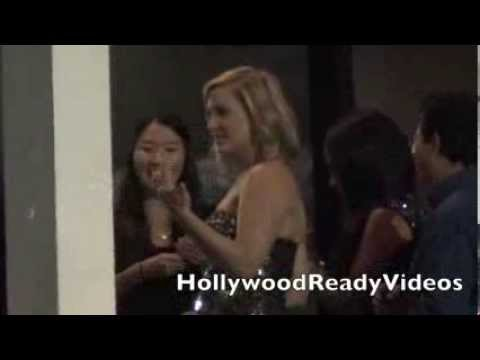 Jessica Capshaw greets fans departing Grey's Anatomys' 200th episode party in Hollywood