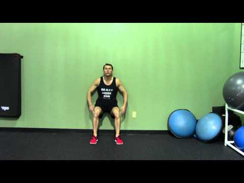 Wall Sit - HASfit Squat Exercise Demonstration - Wall Squat Form - Isometric Leg Exercise