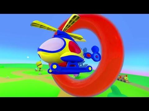 Мультфильмы 3D. Вертолет и разноцветные кольца - Мультики Зим Зум