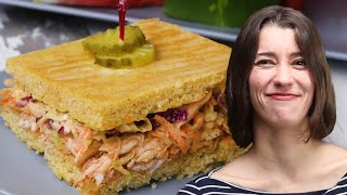 How To Make Sheet-Pan BBQ Cornbread Sandwich With Alexis • Tasty