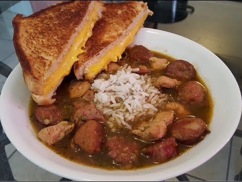 How to make New Orleans Chicken and Sausage Gumbo with Grilled Cheese