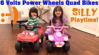 Power Wheels Quad Bikes! 6 Volts Disney Princess and Lightning McQueen Unboxing and Playtime