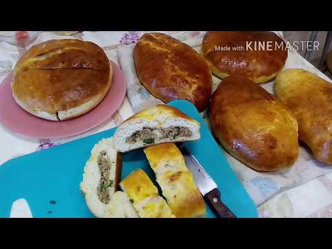Пирог с пшеничной крупой и зеленым луком.Деревенская кухня.