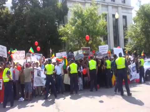Protest at U S Africa Summit in Washington DC August 2014 Exclusive Addis dimts radio video