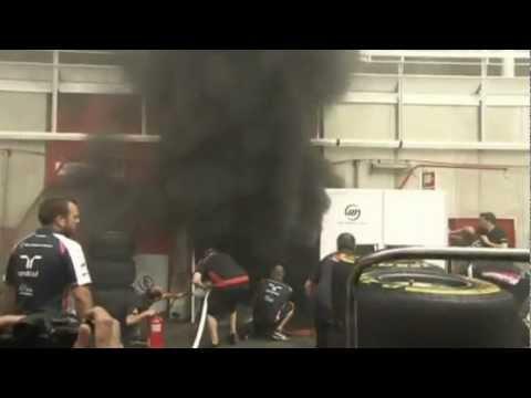 F1 2012 Spanish Gp Williams Garage Fire