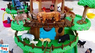 Toy Jungle and Forest Animals in the Treehouse Playset For Kids