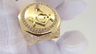 Gold Masonic CZ Mens Ring | CZ Bling Bling Hip Hop Style