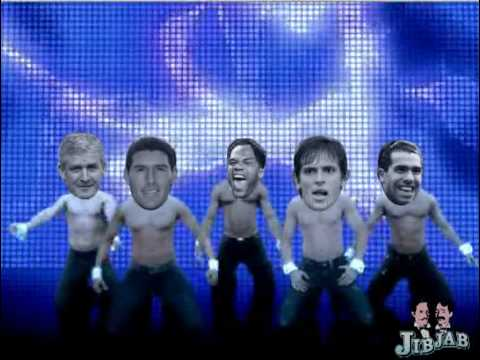 Manchester City Dance: Mark Hughes, Carlos Tevez, Roque Santa Cruz, Gareth Barry, Joleon Lescott