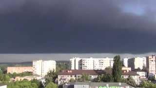 Пожар на нефтебазе БРСМ. Небо над Васильковом чёрное.