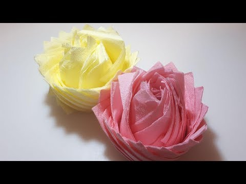 Красивый  цветок из салфеток для украшения праздничного стола. Пошаговая инструкция.