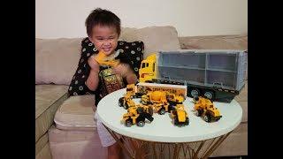 Ryan's ToysReview Inspires Brody to Review His DumpTrucks, BackHoe, Excavator, FrontLoader etc