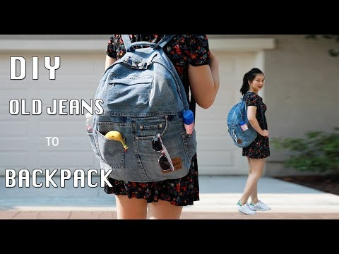 DIY UPCYCLED OLD JEANS TO A BACKPACK/牛仔裤改造双肩包手作教学 - YouTube
