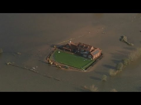UK floods: New aerial footage as water rises