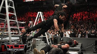 Download Seth Rollins and Dean Ambrose cause carnage with elbow drops through tables: WWE TLC 2017 3Gp Mp4