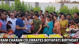 Ram Charan Celebrates Director Boyapati Srinu Birthday On The Sets of #RC12