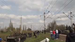 UPU Ukrainian plane MiG-29 flies over the blocked column