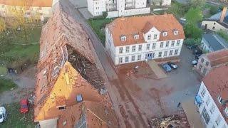Drohnen-Aufnahmen Zeigen Zerstörung: Bützow (Mecklenburg-Vorpommern) Nach Dem Tornado, 5. Mai 2015