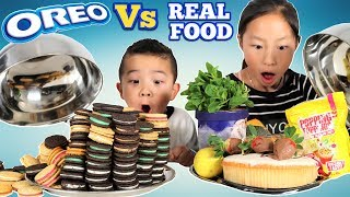 OREO Vs REAL FOOD CHALLENGE!! Fun With Ckn Toys