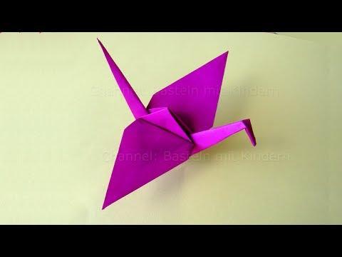 Origami Kranich - Basteln mit Kindern - Origami Tiere basteln mit Papier