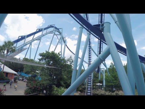 [4K] Manta Roller Coaster Front Seat 2015, SeaWorld Orlando