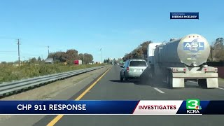 Witness captures erratic driver crash into tanker, says CHP didn't respond
