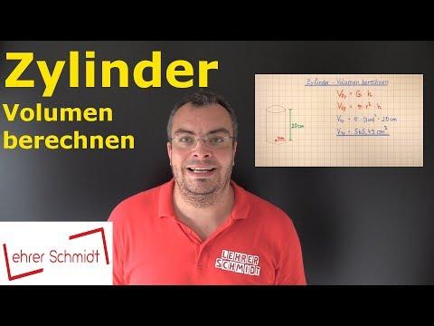 Zylinder - Volumen berechnen   Mathematik - einfach erklärt   Lehrerschmidt