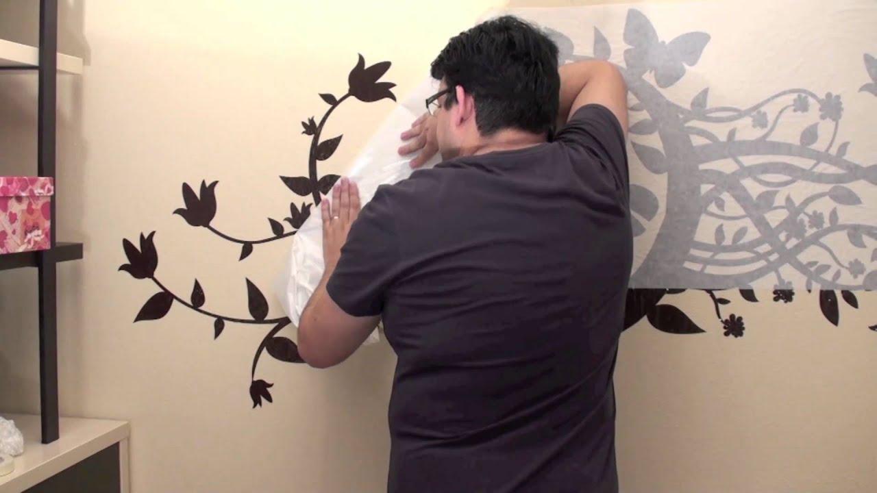 Colocaci n de vinilos sobre pared pintada con gotel youtube - Decorar paredes de gotele ...