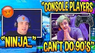 "NickMercs Reacts To Ninja DISSING ""Console Players"" Unable To Do 90's & Build! Fortnite Moments"