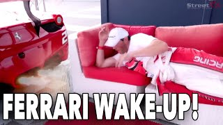 DON'T FALL ASLEEP AT THE RACE TRACK! Brutal 458 GT3 Race Car Wake up alarm clock!