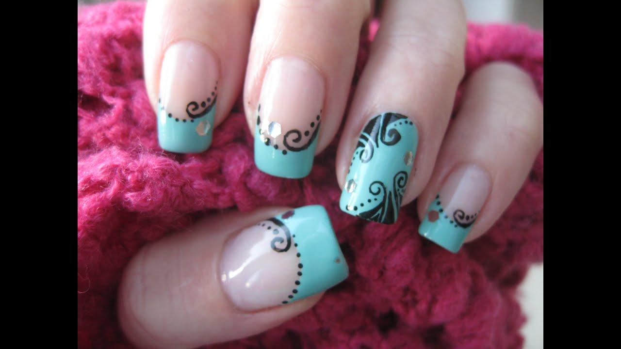Nail Art Nostalgic Decorations On Turquoise Youtube