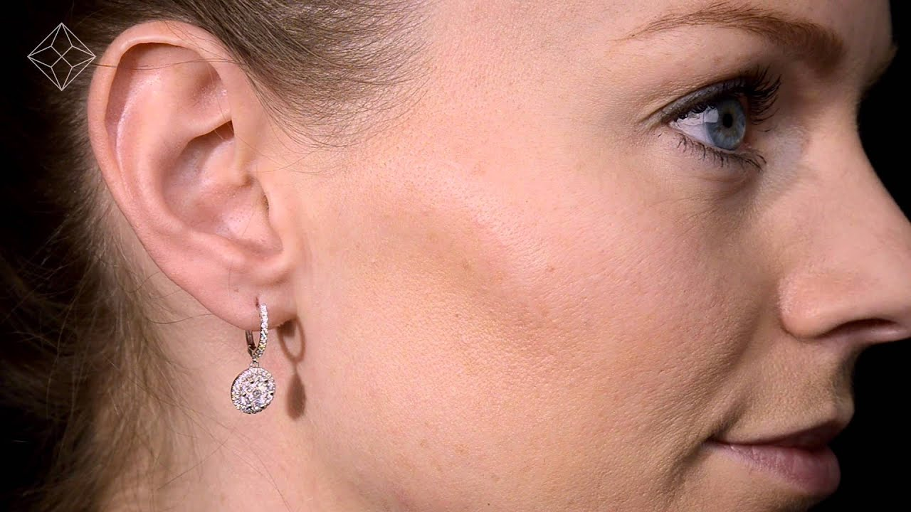 Halo Diamond Earrings in White Gold from Brilliance.com