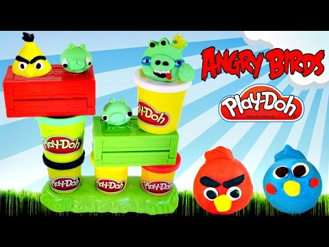 Play Doh Launching Angry Birds Build N' Smash Game How To Make Angrybird Frozen Fashems Superhero video